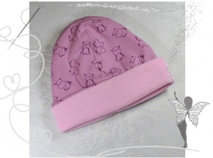 Warme,rosa Mütze mit lustigen Nilpferden,Gr.41-43,  3-5Monate