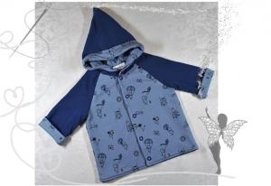 Einzigartige Baby-Jacke,Gr.56,blau mit Strichmännchen - Handarbeit kaufen