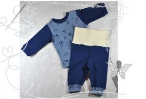 Babyset Gr.56,Langarmshirt und Leggins,blau-Strichmännchen,Geschenk zur Geburt  - Handarbeit kaufen