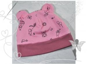 Rosa Mütze mit lustigen Strichmännchen,Gr.41-43, 3-5Monate,Geschenk zur Geburt - Handarbeit kaufen