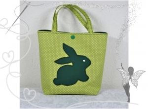 Kleine Kindertasche mit Hasenmotiv,Geschenk zu Ostern,grün - Handarbeit kaufen