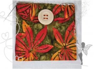 Praktische,schöne Maskentasche,Maskenetui,Batikstoff, für FFP2 Masken,orange,Blumen - Handarbeit kaufen