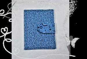 Handgemachte Impfpasshülle,blau mit Punkten und Kreisen,Geschenk