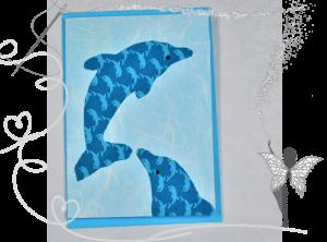 Handgemachte Grußkarte mit Delphinen aus Stoff, für jeden Anlass - Handarbeit kaufen