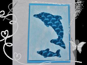 Handgemachte Grußkarte mit Delphinen aus Stoff, für jeden Anlass,kleiner Freund