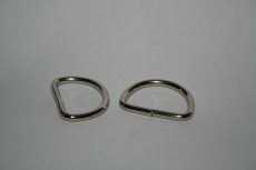 D-Ringe-Halbringe, 20x15x2mm *verchromt* für 20mm Gurt/Band