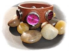 Leder-Armband mit Uhr- und 2 Schmuckbuttons Medium