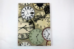 Handgemachtes Gästebuch im DIN A4 Hochformat mit nostalgischen Uhren