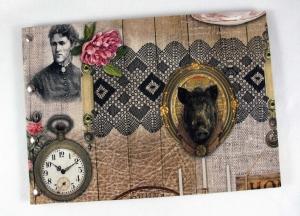 Handgemachtes Gästebuch im DIN A4 Querformat nostalgische Collage mit Wildschweinkopf