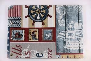 Handgemachtes Gästebuch DIN A4 Querformat Segelschiff und Steuerrad als Motiv