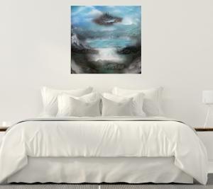 Acryl  Malerei , Acryl Gemälde auf Leinwand, Spray Paint ART, Fantasy Malerei, Landschaftsbild,