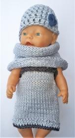 Silver Grey 4 Girls 3 tlg Set : Set für Baby Born oder für ähnlich große Puppen (42-48 cm)