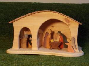 große Weihnachts-Krippe, Stall, Bauernhof