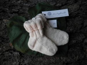 Babysocken Gr. 15  Bio-Schurwolle    naturweiß