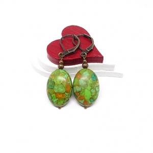 ♥ Rotkupferfarbene Ohrringe – dunkel-olive grün mit braun ♥