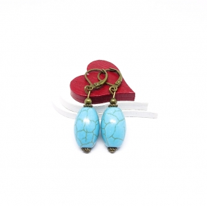 ♥ Bronzefarbene Ohrringe – Türkis in ovaler Form ♥