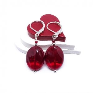 ♥ Silberfarbene Ohrringe mit roten böhmischen Glasperlen ♥