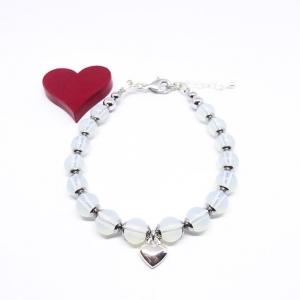♥ Armband mit Edelsteinen aus Opal und silberfarbenem Herz ♥