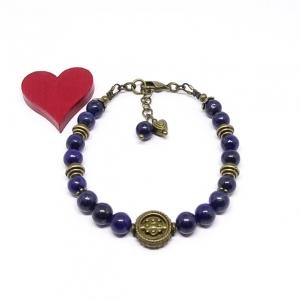 ♥ Armband mit Edelsteinen aus Lapislazuli 6 mm und bronzefarbenen Perlen im Vintagestil ♥