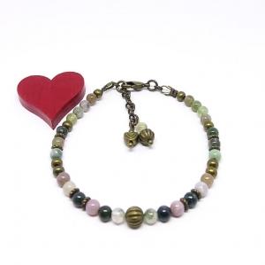 ♥ Armband mit Edelsteinen aus Achat, 4 mm und bronzefarbenen Perlen im Vintagestil ♥
