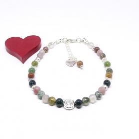 ♥ Armband mit Edelsteinen aus Achat 4 mm und silberfarbenen Perlen