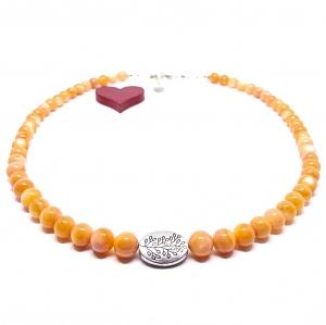 ♥ Perlmuttkette in einem schönen india-orangen Farbton, 6 mm  ♥