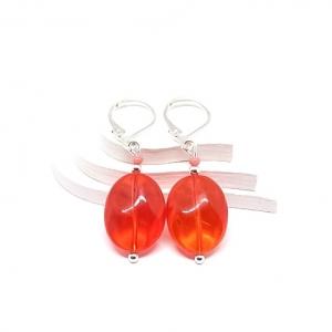 ♥ Silberfarbene Ohrringe mit böhmischen Glasperlen in orange ♥