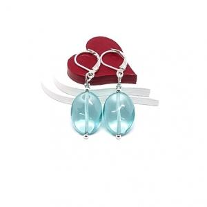 ♥ Silberfarbene Ohrringe mit böhmischen Glasperlen in helltürkis ♥