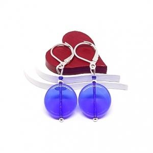 ♥ Silberfarbene Ohrringe mit böhmischen Glasperlen in blau, 15x15 mm ♥