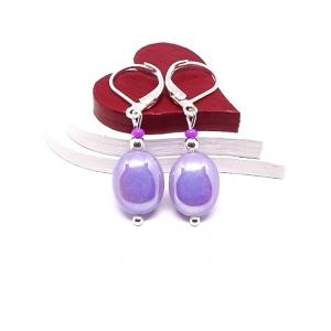 ♥ Silberfarbene Ohrringe mit tschechischen Glasperlen in hell-lila ♥