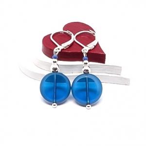 ♥ Silberfarbene Ohrringe mit tschechischen Glasperlen in transparent blau ♥