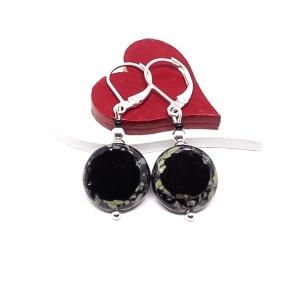 ♥ Silberfarbene Ohrringe mit tschechischen Table Cut Glasperlen in schwarz ♥