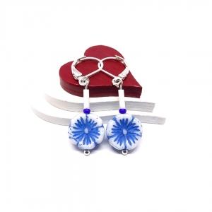 ♥ silberfarbene Ohrringe, hawaiianische Blume in Weiß und Blau ♥