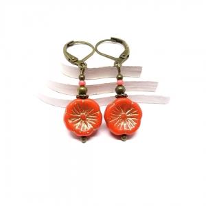 ♥ Bronzefarbene Ohrringe, hawaiianische Blume in Orange ♥