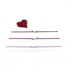 ♥ 3 filigrane Armbänder in Flieder, Magenta und Dunkelrot ♥