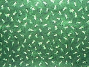 Baumwollstoff mit kleinen Tannenbäumen auf grünem Grund - Handarbeit kaufen
