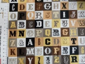 Baumwollstoff mit Buchstaben und Zahlen für Jungen  - Handarbeit kaufen