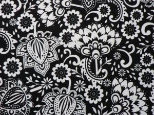 Baumwoll-/Patchworkstoff stilisierte Blumen auf schwarzem Grund - Handarbeit kaufen