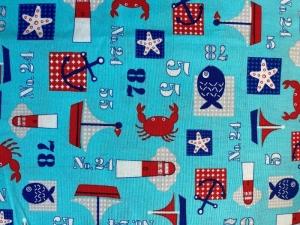 hellblauer Stoff mit maritimen Mustern - Handarbeit kaufen