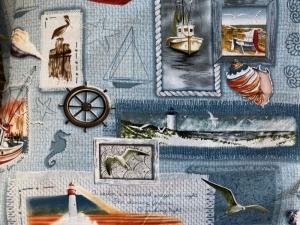 Blaugrauer Stoff mit maritimen Mustern - Handarbeit kaufen