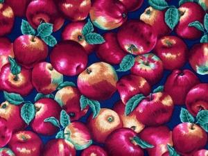 herbstlicher  Baumwollstoff  mit Äpfeln - Handarbeit kaufen