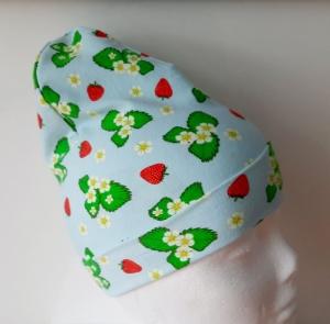 Wende-Beanie im Erdbeerlook, Mütze, Kopfbedeckung, Handarbeit byRehfeldt - Handarbeit kaufen