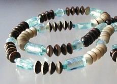lange Kette - Buri-Samen und Silberfolie-Perlen aqua braun beige endlos Unikat