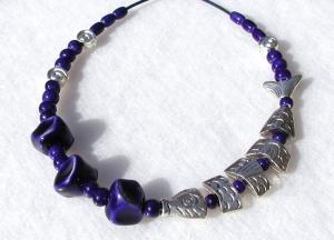 Halskette SILBER-FISCH  in Navy-Blau Keramik Lederband Schnecke originell
