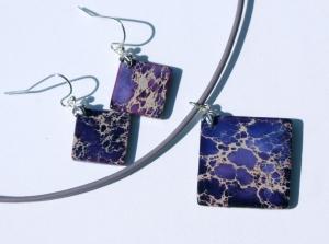 Schmuckset Sediment-Jaspis lila Ohrhänger Anhänger Leder Quadrat leicht Steinschmuck Unikat