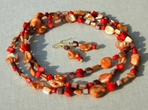 Set GLUT Endlos-Kette mit Ohrhängern Perlmutt Koralle orange rot braun Steinschmuck Unikat lang