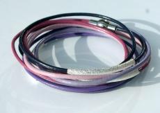Wickelarmband LILA LAUNE Leder 5fach silber Röhrchen flieder fuchsia Magnetverschluss
