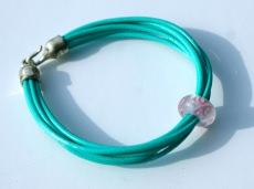Armband Leder 6 fach türkis-grün Perle