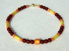 Halskette FARBFEUER Polaris rot, orange, gelb Lederband Magnetverschluss
