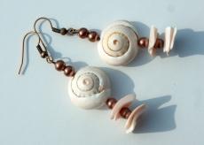 OHR - MUSCHEL Ohrhänger natur Muscheln Glas Unikat originell - Handarbeit kaufen